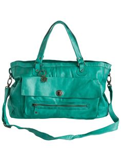 TOTALLY ROYAL LEATHER TRAVEL BAG  from pieces- love the colour!!!