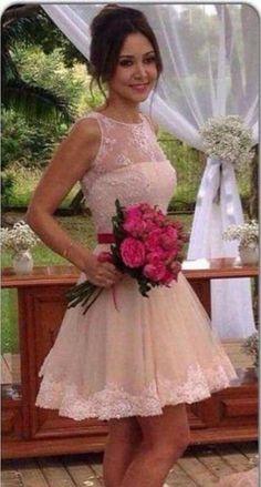 Pink homecoming dress short/mini lace sleeveless zipper
