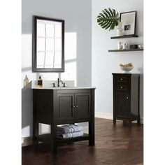 American Classics Artisan Chestnut Vanity With White Square Bowl Vanity Top 24 5 Inch Wide