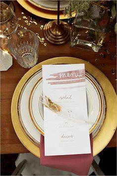 water color wedding menu