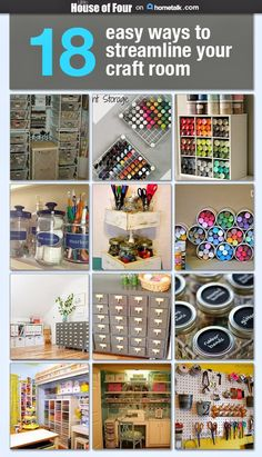 Space Guide 18 easy ways to streamline your craft room and a simple guide to organize your supplies. - 18 Ways to Streamline Your Craft Room. Scrapbook Organization, Sewing Room Organization, Craft Room Storage, Craft Rooms, Organization Ideas, Storage Ideas, Paper Storage, Craft Storage Solutions, Ribbon Storage