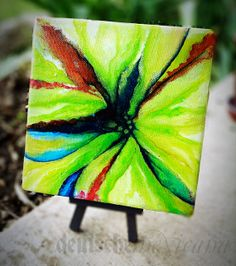 Spring Green, Abstract Floral, 6x6. Acrylic on canvas, original painting. on Etsy, $85.00
