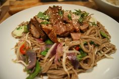 Teriyaki Beef on soba noodles (I make it with Salmon!) - Wagamama