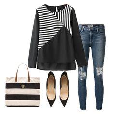 Black Long Sleeve Striped Dipped Hem Blouse