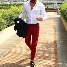 Men's Black Blazer, White Long Sleeve Shirt, Red Chinos, Black Leather Loafers