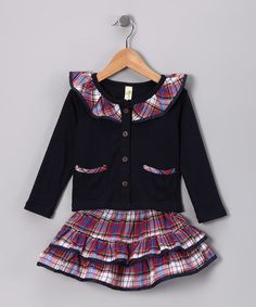Take a look at this Navy & Red Plaid Ruffle Top & Skirt - Infant & Toddler by Maria Elena on #zulily today!