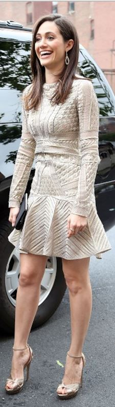 Who made Emmy Rossum's long sleeve print dress and gold sandals that she wore in New York
