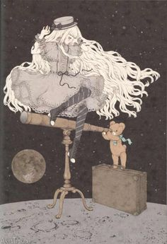 """""""Girl on her way to the Moon, the Young Girl's Whereabouts"""" Postcard from Imai Kira ( - Lolita Desu Gothic Wallpaper, Estilo Lolita, Photocollage, Book Cover Design, Cute Art, Art Girl, Art Inspo, Art Reference, Illustrators"""