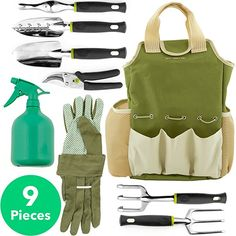includes 11 handy gardening tools Modern Outdoor Living Garden Tools Set 11 Piece with Stool and Storage Bag