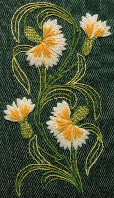 Marvelous Crewel Embroidery Long Short Soft Shading In Colors Ideas. Enchanting Crewel Embroidery Long Short Soft Shading In Colors Ideas. Bordado Jacobean, Crewel Embroidery Kits, Embroidery Flowers Pattern, Hand Embroidery Designs, Ribbon Embroidery, Embroidered Flowers, Cross Stitch Embroidery, Machine Embroidery, Brazilian Embroidery