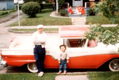 Dusty Marks , Buds friend and motor man and a very young Mark Graham. The 1957 Ranchero had a Mc Culloch Supercharger in late 1950s. A mean street sleeper.