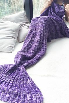 Simplee Warm knitted mermaid tail blanket Winter chic kids adult sofa sleeping bag Autumn soft handmade crochet wrap bedding looks fantastic in models, design, Winter Chic, Knitted Mermaid Tail Blanket, Mermaid Blankets, Crochet Mermaid, Mermaid Tails, All Things Purple, My New Room, Crochet Patterns, Knitting Patterns