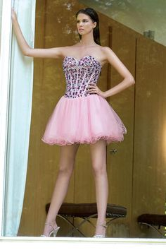 Homecoming dresses #homecoming #dresses #homecoming #dress#2014 Homecoming Dresses Sweetheart Short/Mini A Line Tulle Beadings&Sequins
