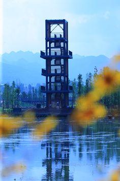 Minghu Wetland Park by Turenscape. A wetland  tower overlook.