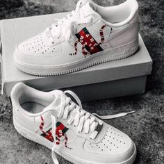 Custom Gucci Snake Nike Air Force 1 - Gucci Shoes - Ideas of Gucci Shoes - This Custom Gucci Snake Nike Air Force 1 is just one of the custom handmade pieces you'll find in our sneakers & athletic shoes shops. Sneakers Fashion, Nike Sneakers, Fashion Shoes, Gucci Fashion, Cheap Fashion, Fashion Men, Custom Sneakers, Custom Shoes, Souliers Nike