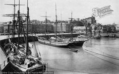 Folkestone, The Harbour ,1912. A mixture of schooners, brigantines and spritsail barges lie to warps in the outer harbour. #Folkestone #Harbour