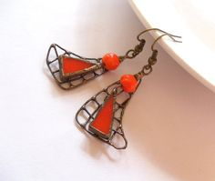 Stained glass artistic earrings orange beaded by ArtemisFantasy, $30.00