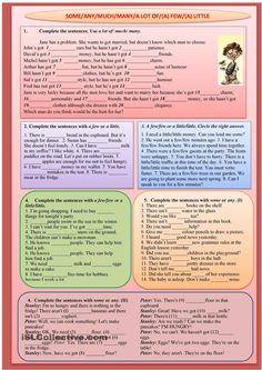 A worksheet with various exercises to practise the use of SOME& LOT OF& FEW& LITTLE. Suitable for elementary, pre-intermediate and intermediate learners. English Teaching Materials, English Teaching Resources, Teaching English Grammar, English Grammar Worksheets, English Activities, English Writing, English Test, English Lessons, Learn English