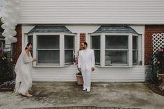 First look. Bride Groom Bridal portraits. Lauren + AJ Backyard Indie Bohemian Long Island DIY Wedding. Dress and veil: Lindsey Thornburg. Shoes: Raphaella Booz. Photographer: Chellise Michael Photography in Brooklyn, NYC