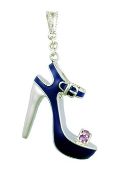 """Inspired by the spectacular high heels featured in the Brooklyn Museum exhibition and book, Killer Heels:  The Art of the High-Heeled Shoe, jewelry designer Rémy Rotenier designed six miniature shoes, each with its own unique character.  Shown: """"St. Tropez"""" in rhodium-plated sterling silver with blue enamel and set with amethyst gemstones.  Goldex Fine Jewelry ~ (323) 726-7181."""