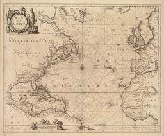 1650 carta náutica del Atlántico   Etsy