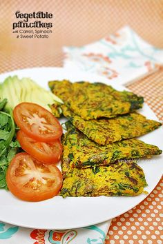 Savory vegetable pancakes with carrot, spinach and sweet potato batter. Yummy and versatile, you can make this with different vegetables.
