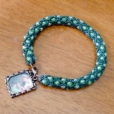 Green crystal beaded rope bracelet with photo by Hellybeanbeads, $20.00