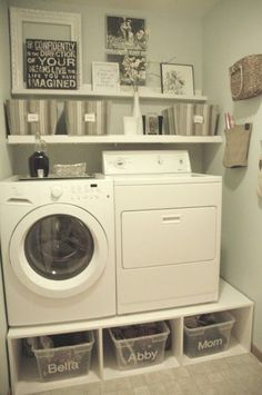 small laundry room mud room makeover, with pedestals and shelves, Tremendously Thrifty - love the storage under the W - but I'd want it to line up with the footprint of the machines.