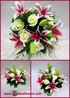 Simple wedding bouquet of white Eskimo roses and Stargazer lilies