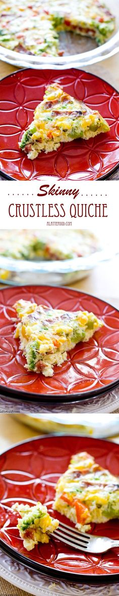 Skinny Crustless Quiche | This delicious quiche has all the taste without the calories! You won't feel guilty serving up a slice (or two) of this for breakfast!
