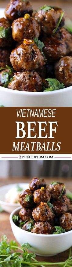 One of my favorite recipes and SO easy to make! Vietnamese Beef Meatballs with sweet and spicy hoisin sauce. http://www.pickledplum.com/beef-meatballs-vietnamese-recipe/