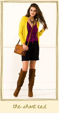 yellow cardi $34, Tank $34, necklace, $24- black skirt, boots (bag- bleh.) $92 at Francesca's