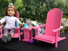 Adirondack Chairs table for 18 in American Girl by BedsandThreads, $90.00