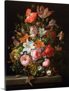 Large classic art still life floral bouquet. Still life of roses, lilies, tulips and other flowers in a glass vase Wall Art by Rachel Ruysch from Great BIG Canvas. Wall Art Prints, Framed Prints, Canvas Prints, Flower Vases, Flower Art, Dutch Still Life, Arte Floral, Vanitas, Botanical Art