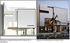 chanel store designed to reflect the packaging of chanel no.5 perfume..brilliant marketing!