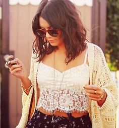 """Check out Bryn Alcaraz's """"Vanessa Hudgens"""" grab Vanessa Hudgens Style, Lacey Tops, Classy Women, Celebrity Hairstyles, Classy And Fabulous, Dress Me Up, My Idol, Celebrity Style, Cute Outfits"""