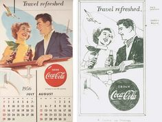 (Coke code 131) 1956년도 제작된 코카-콜라 달력입니다~달력이미지의 스케치와 포스터를 비교해보시는 것도 재미있을 것 같네요~