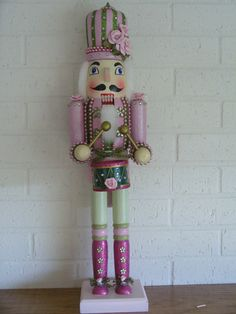 Light Pink drummer nutcracker-glitter roses 24 inch 1 by shazam101 on ETsy