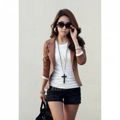 ==love this==  $10.32 Slimming Turn-Down Collar Single-Breasted Long Sleeves Suiting Cotton Blazer