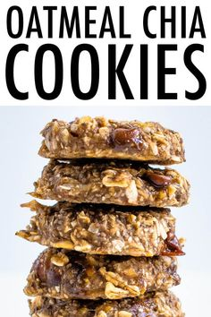 These oatmeal chia cookies are perfect for breakfast or as a healthy snack The texture is chewy and similar to baked oatmeal Plus they re portable and great for meal prep chiacookies vegancookies breakfastcookies chiaseedrecipes eatingbirdfood # Good Healthy Recipes, Healthy Breakfast Recipes, Healthy Foods To Eat, Gourmet Recipes, Whole Food Recipes, Healthy Breakfast Cookies, Dinner Recipes, Breakfast Smoothies, Easy Recipes