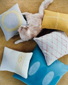 Needle-Felted Handmade Pillows with Roving, Yarn, and Felt Accents - Martha Stewart Crafts