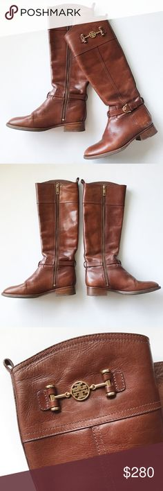 Tory Burch Riding Boots Beautiful chestnut warm brown color with gold hardware • buckle detail • gently used a handful of times, extremely minor scuffs - still in amazing condition! • tall riding boots perfect for this cold season🍂✨ • all reasonable offers accepted! Tory Burch Shoes