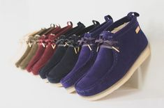 Ronnie Fieg has joined forces with Clarks Originals to update the iconic Wallabee silhouette in five suede colorways -- Sand, Olive, Burgundy, Navy, and Clarks Shoes Mens, Abs Boys, Business Casual Shoes, Clarks Originals, Dressing, Sneaker Release, Dress Codes, Shoe Boots, Men's Shoes