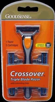 good sense men's crossover 3 blade disposable razor system 1 hand / 5 cart Case of 36