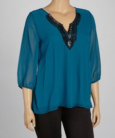 Take a look at this Teal Sheer Sequin Embellished Top - Plus by Maya Plus on #zulily today!