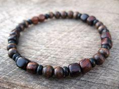 Mens bracelet wood beads bone spacers beaded by thehappymushroom, £5.20