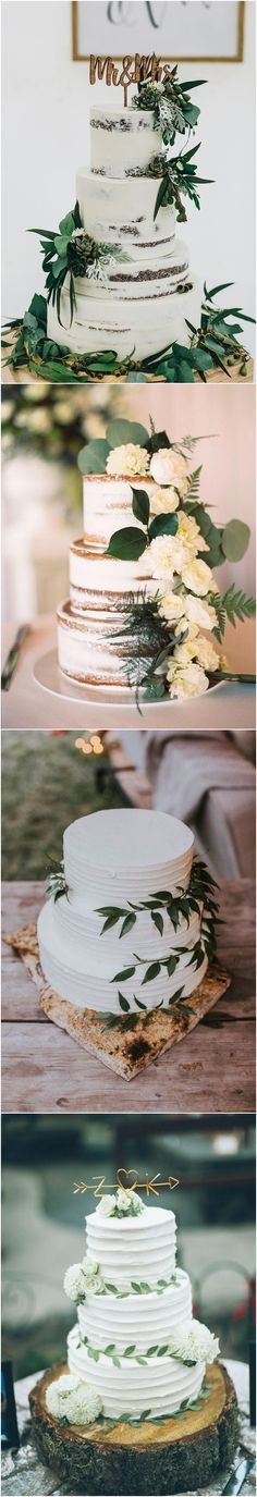 Greenery wedding cakes #weddings #greenweddings #weddingideas #rusticwedding ❤️ http://www.deerpearlflowers.com/greenery-wedding-cakes/