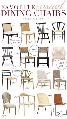 Favorite casual dining chairs for your home! Loving all of the different dining chairs with rattan dining chairs wooden dining chairs and simple dining chairs.