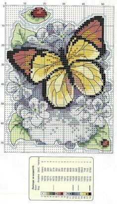 Ricami, lavori e centinaia di schemi a punto croce di tutti i tipi, gratis: Schemi Farfalle e fiori a punto scroce