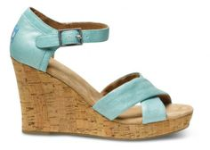 TOMS Turquoise Metallic Linen Strappy Wedges for that One Summer Day when you want a little prep in your step! #EcoFashion Sandals
